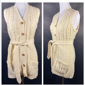 Cream Hand Loomed Cardigan Belted Sweater Vest